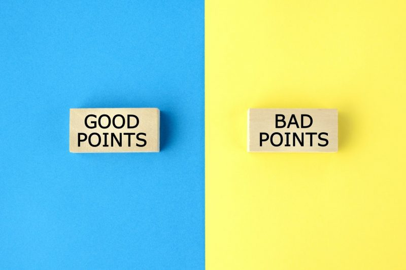 良い点と悪い点の比較イメージ